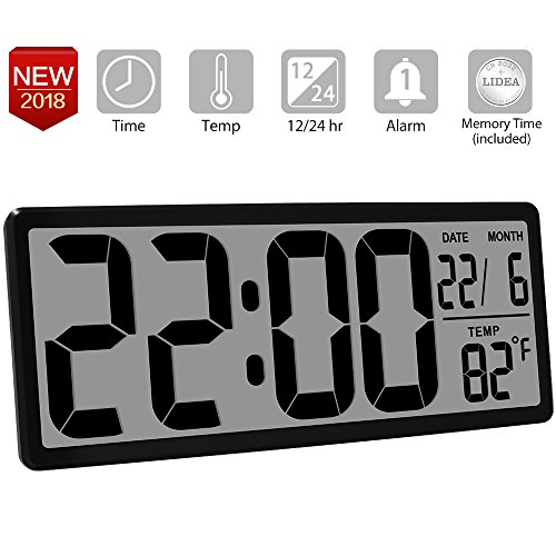 TXL 13.8 Inch Jumbo LCD Digital Alarm Clock with 4.6 inch Digits,Extra Large Electronic Wall Clock Display Date/Indoor Temperature/Fold-Out Stand Desk&Shelf Clock for Seniors Home Kitchen Office,Black - Electronic Temperature