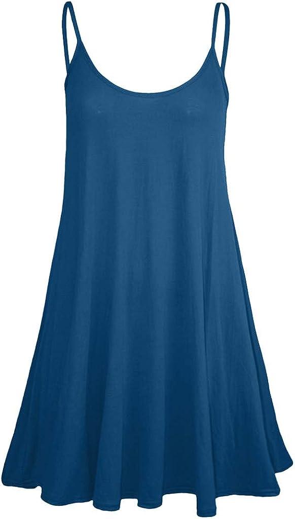 Kemilove Women'S Summer Casual Sleeveless Adjustable Spaghetti Strappy Summer Beach Swing Dress