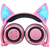 Wireless Bluetooth Cat Ear Headphones with Glowing Lights ( Pink )