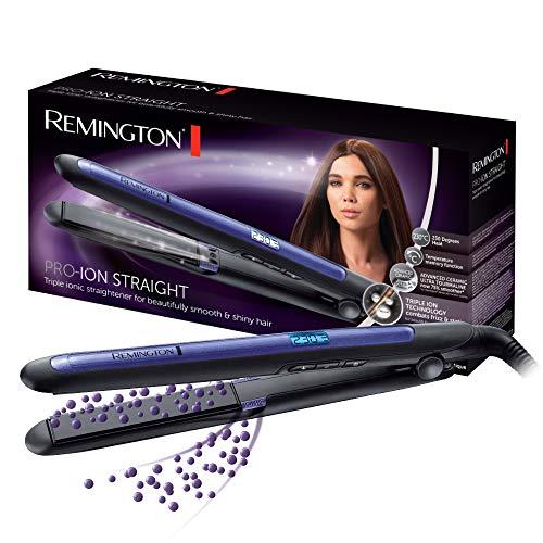 Remington Pro Ion S7710 – Plancha de Pelo, Cerámica, Digital, Placas Flotantes largas, Tecnología Iónica Triple, Azul y Negro