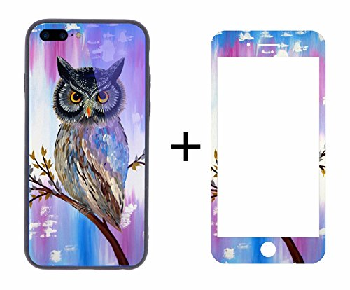 LIycase for iPhone 7/8 Plus (5.5 inch) Case, Elk Art Tempered Glass Mirror Back Cover Shell TPU Bumper Shockproof Casing With Full Screen Protector (Art Glass Elks)