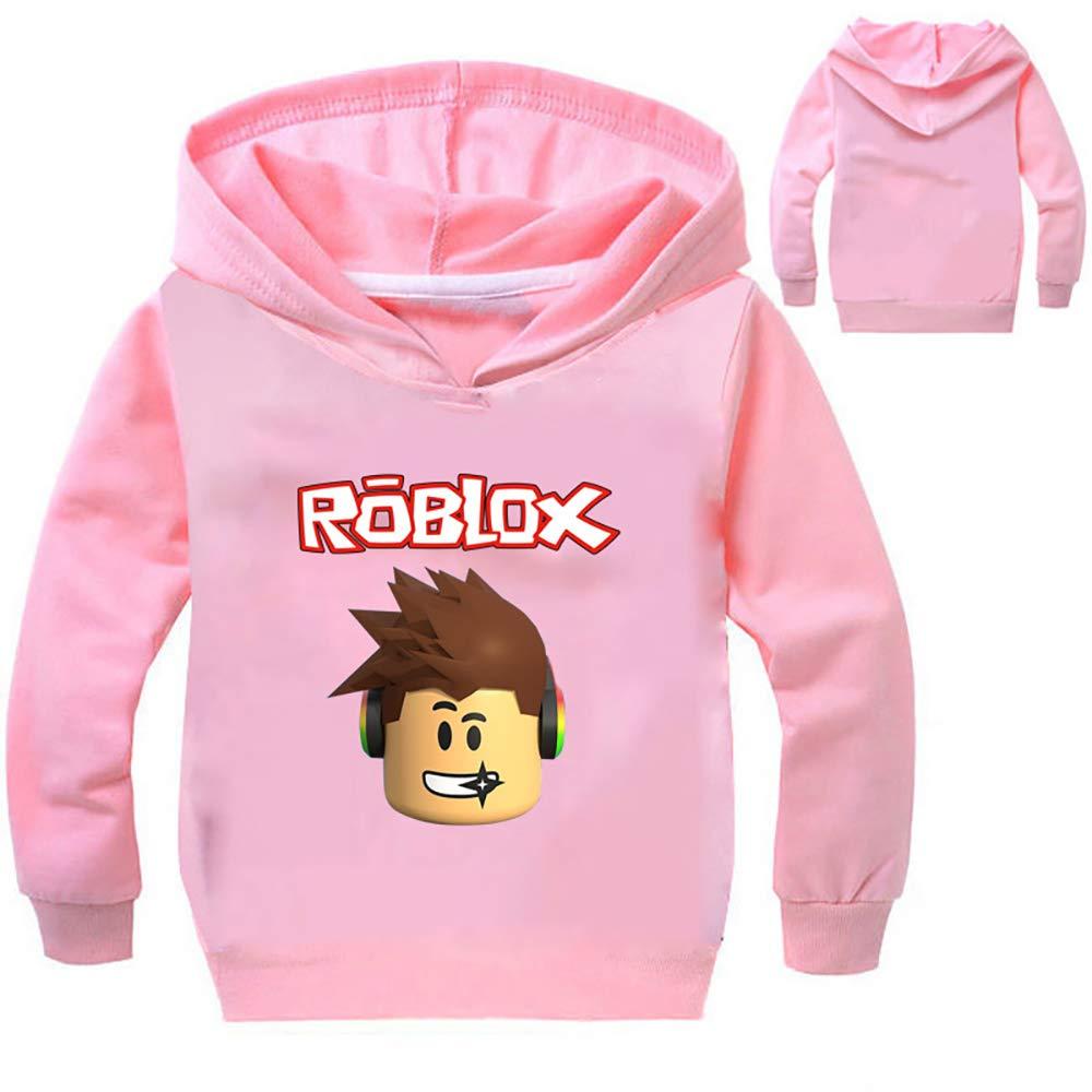 Boys Grils Kids Roblox Thin Hoodie Sweatshirt (10, Pink)