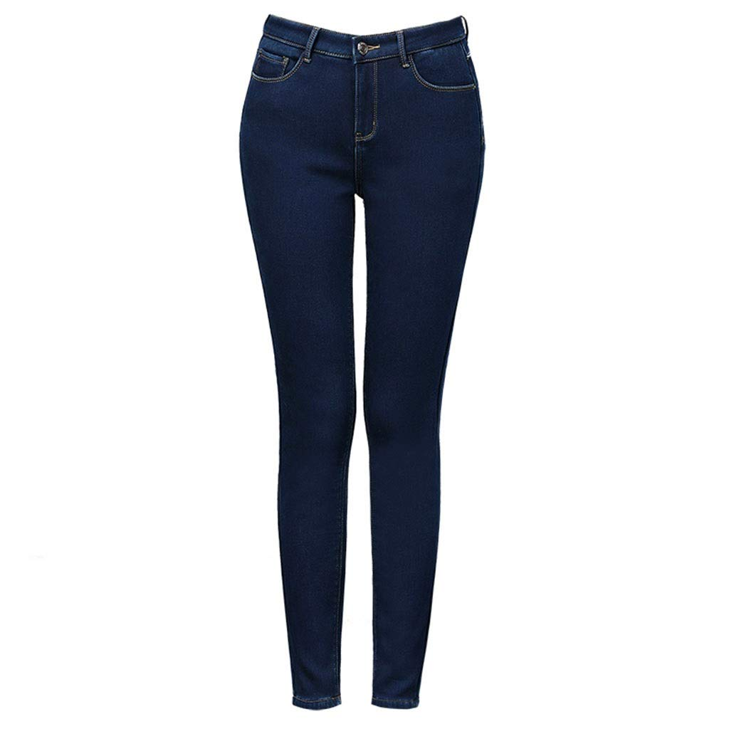 bluee Plus Velvet Jeans Female High Waist Feet New Korean Version of The Pencil Pants were Thin Outside Wear Thick Pants Winter is Not Bloated  (color   bluee, Size   30)