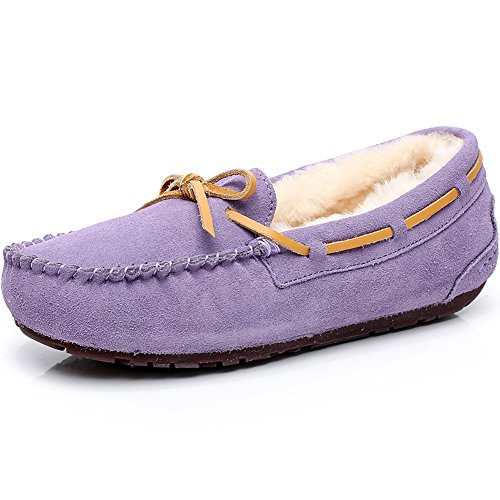 Rismart Women High-End Wool Fur Lined Soft Suede Moccasin...
