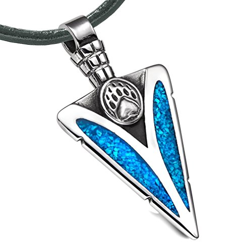 Arrowhead Grizzly Bear Paw Brave Powers Protection Amulet Simulated Turquoise Pendant Leather Necklace