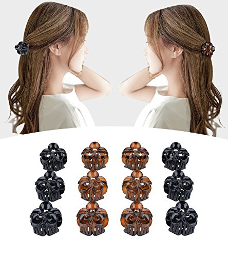 (Fascigirl Claw Clips, 12 Pcs Mini Hair Clips Plastic Clamps Classic Octopus Jaw Clips for Women Girls (Black and Brown))