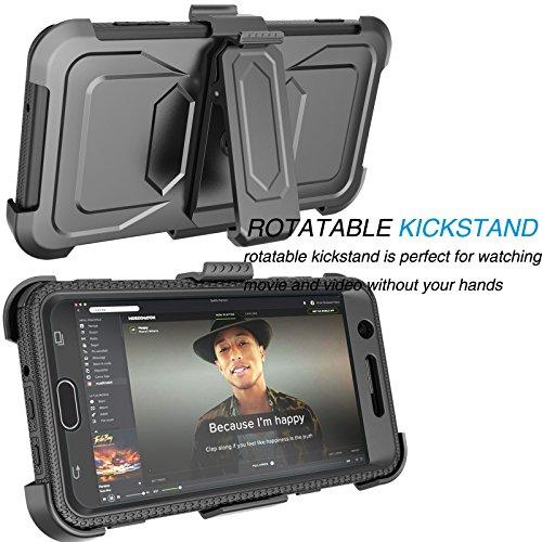 Tekcoo Galaxy J7 Sky Pro Case, Tekcoo Galaxy J7 V/J7V/J7 Perx Holster Clip, [TShell] [Built-in Screen] Locking Secure Swivel Belt Kickstand Phone Cover Full Body Case Cover For Samsung J7 2017 [Black] by Tekcoo (Image #4)