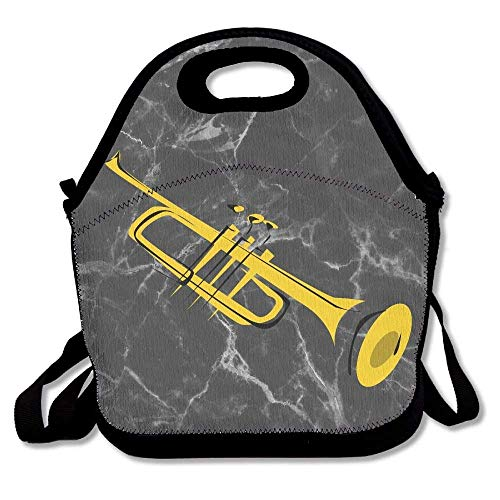 Trumpet Clip Art Lunch Bag With Shoulder Strap Neoprene Lunch Tote Bags School Star Gift