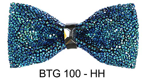Men's Premium Metallic and Rhinestone Bow Ties for Suits and Tuxedos - Many Colors (Peacock Color Rhinestone BTG 100-HH)