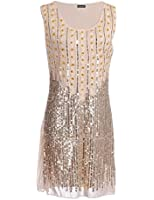 PrettyGuide1920s Gatsby Style Beads and Sequin Embellished Shift Dress