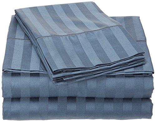 (True Linen 500 Thread Count Damask Stripe 100% Egyptian Cotton Sheet Set (Queen, Dark)