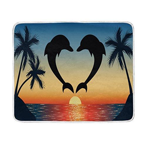 ALAZA Dolphin Sea Sunset Palm Tree Plush Throws Siesta Campi
