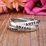 Family Name Ring in Stamped Sterling Silver, Triple Rolling Ring, Mother's Ring, Thumb Ring, Ring for Mom