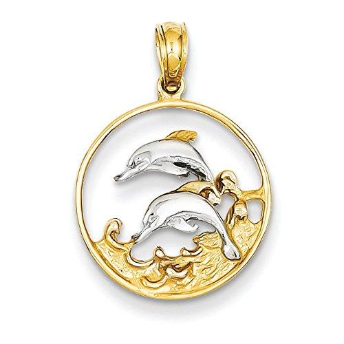 14 carats et Rhodium 2 dauphins JewelryWeb-Pendentif en forme de cercle