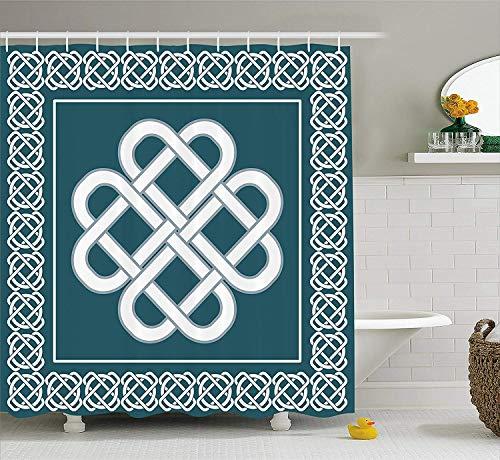 Aloundi Irish Shower Curtain, Celtic Love Knot Symbol of Good Fortune Framework Border Historical Amulet Design, Fabric Bathroom Decor Set with Hooks, Blue and White