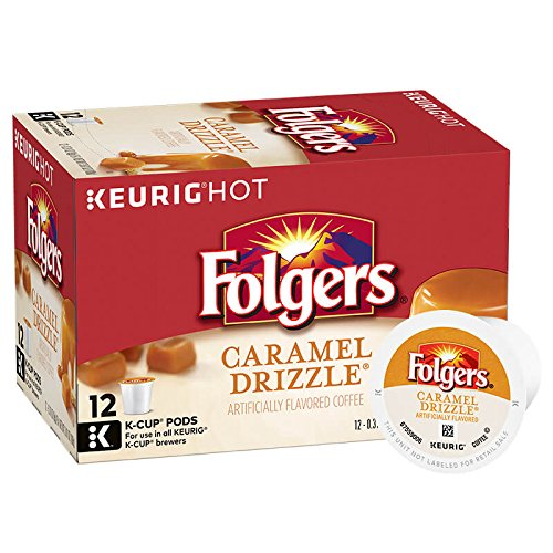 (Folgers Caramel Drizzle Flavored Coffee, K-Cup Pods for Keurig K-Cup Brewers, 12-Count (Pack of 6))
