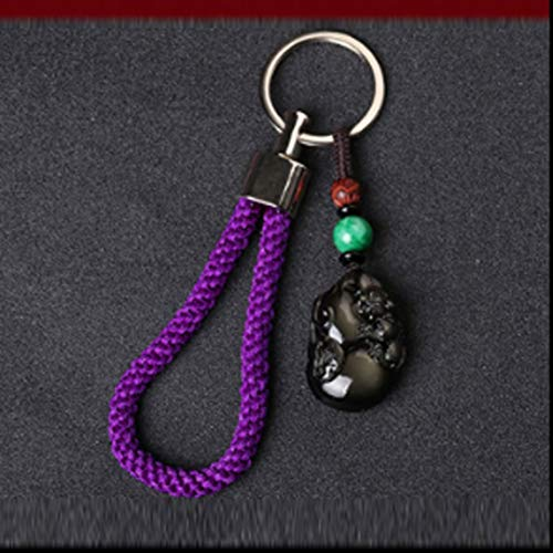 TLMYDD High-Grade Natural Obsidian Beast Gourd Car Key Ring Pendant Men and Women Couples Peace Jewelry Car Pendant (Color : Purple)