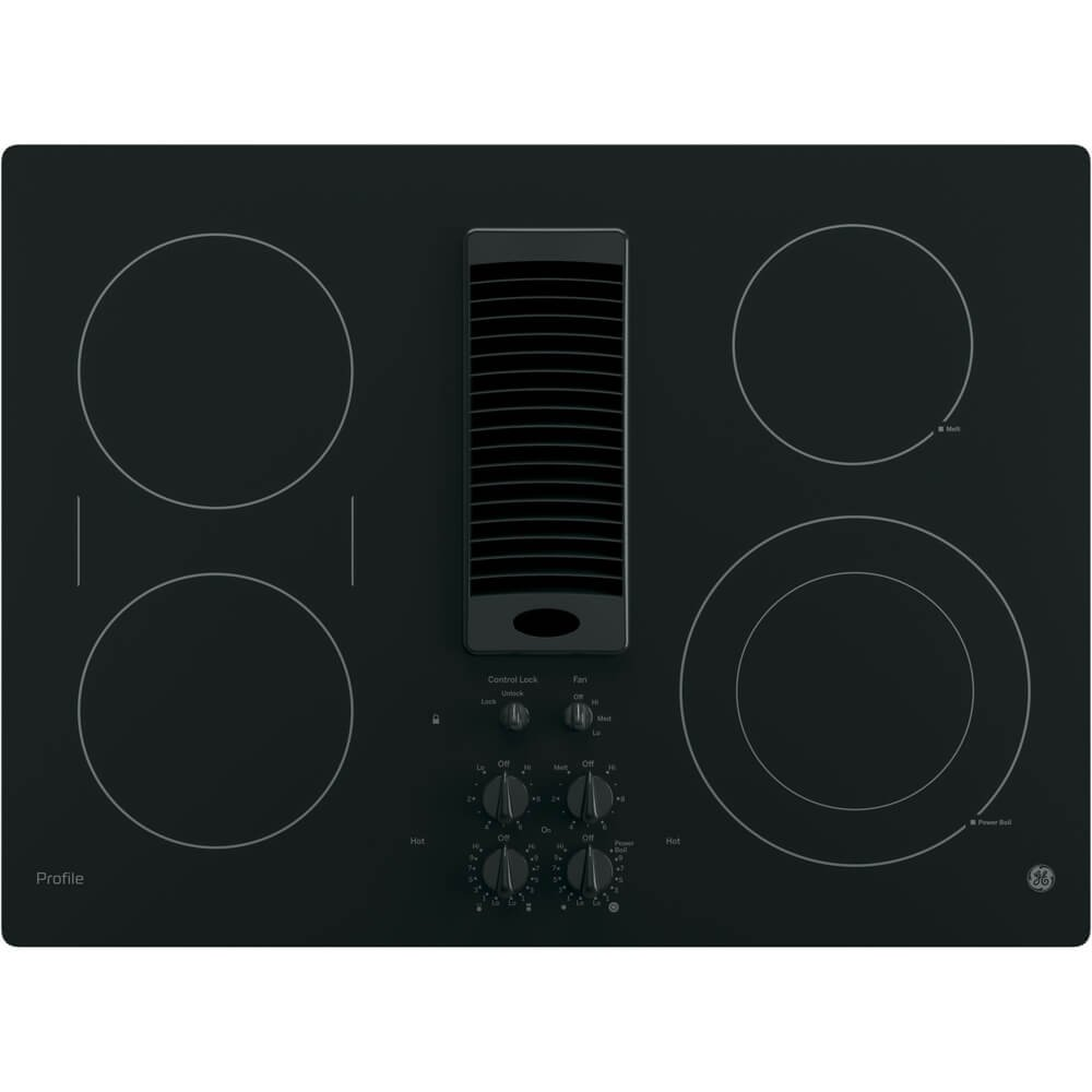 "GE PP9830DJBB 30 Inch Smoothtop Electric Cooktop with 4 Burners, 3-Speed Downdraft Exhaust System, 9""/6 Inch Power Boil, Bridge Element and"