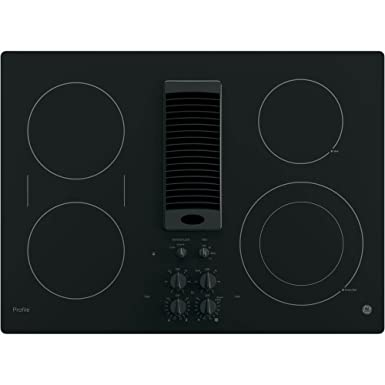 GE PP9830DJBB 30 Inch Smoothtop Electric Cooktop with 4 Burners, 3-Speed Downdraft Exhaust System, 9 6 Inch Power Boil, Bridge Element and