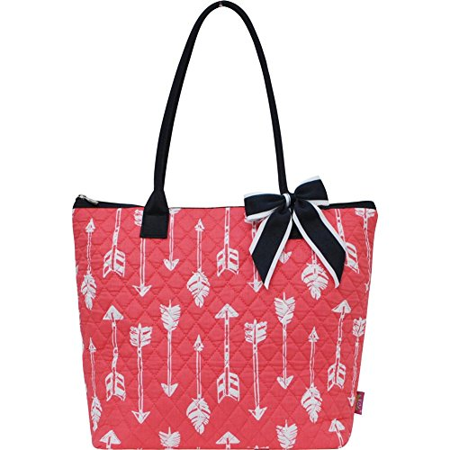 Ngil Quilted Cotton Owl Medium Tote Bag II (Arrow Coral)