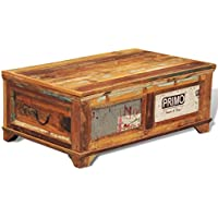Festnight Reclaimed Wood Storage Box Coffee Table, 33 x 20 x 14, Vintage Antique-style