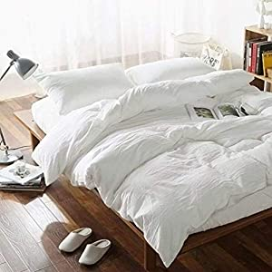 Washed Cotton Duvet Cover Set Twin Bedding Sets Soft Wrinkled Solid Design (Twin, Off White)