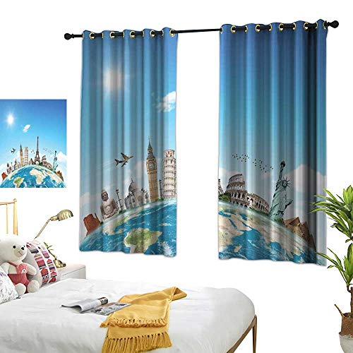 Grommet Blackout Curtains Travel,Famous Monuments of Pisa Taj Mahal Giza Pyramids Paris Landmarks Theme,Pale Blue Ivory White W63 x L63 Printed Window Curtains for Kitchen