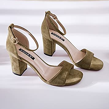 SHOESHAOGE Spring And Summer With WomenS Shoes Coarse Heel Shoes Female One Word Buckle High-Heeled Shoes Sandalen...