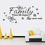 Art Family home decor creative quote wall decals decorative removable Family Wall Stickers Mural