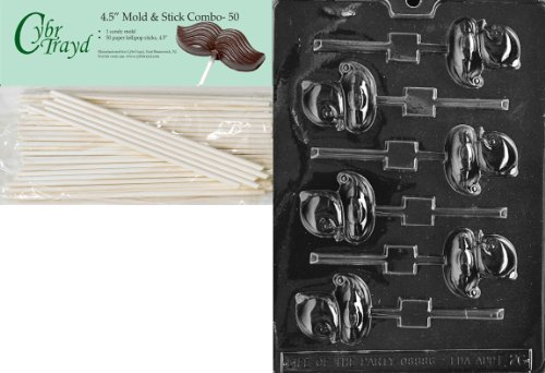 Cybrtrayd Small Duck Lolly Easter Chocolate Candy Mold with 50 4.5-Inch Lollipop Sticks