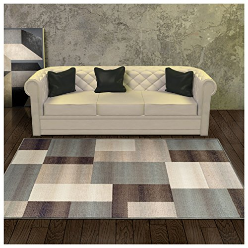 - Superior Elegant Clifton Area Rug, Geometric Rectangular Tile Modern Pattern, 4' x 6', Light Blue