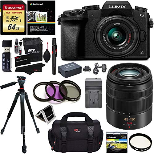 Panasonic G7KK Digital Single Lens Mirrorless 4K Camera 14-42 mm Lens Kit + Panasonic H-FS45150AK Lumix G Vario 45-150mm Lens + Accessory Bundle + Transcend 64 GB Memory + Professional Tripod