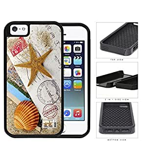 Beach Sand Seashell & Star Fish Postcard Letter Case For Iphone 6 4.7 Inch Cover 2-piece Dual Layer High Impact Black Silicone Cover