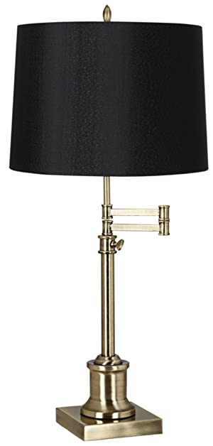 Westbury Black Drum Shade Brass Swing Arm Desk Lamp