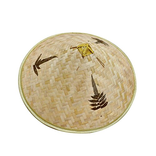 - RoseSummer Chinese Oriental Bamboo Hand Weave Farmer Coolie Fishing Rice Hat