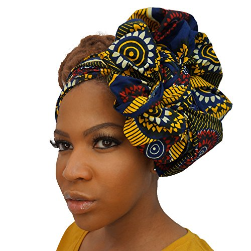 The Urban Turbanista Head Wrap -Extra Long African Wax Print Headwrap Scarf Tie (72