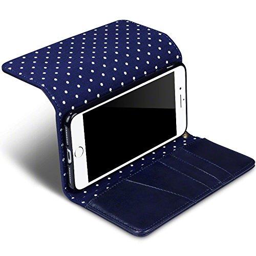 Terrapin Borsellino Custodia Premium di Cuoio del Raccoglitore per iPhone 7 Plus Custodia, Colore: Blu, del Puntino di Polka Interno