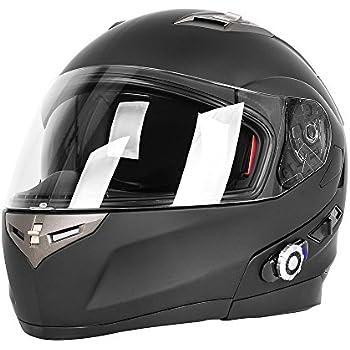 Motorcycle Bluetooth Helmets,FreedConn Flip up Dual Visors Full Face Helmet,Built-in