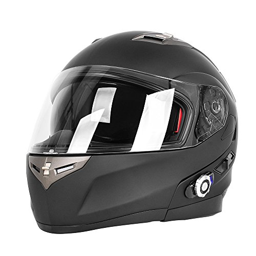 Bluetooth Modular Motorcycle Helmet (Motorcycle Bluetooth Helmets,FreedConn Flip up Dual Visors Full Face Helmet,Built-in Integrated Intercom Communication System(Range 500M,2-3Riders Pairing,FM radio,Waterproof,XL,Matte Black))