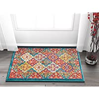 Well Woven Diana Blue Trellis Multi-Color Modern Area Rug 2x3 (20x31) Small Mat Yellow Oriental Lattice Panel Plush Super Soft Carpet