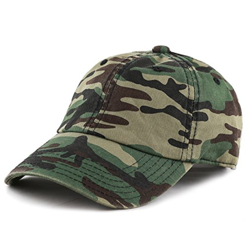 THE HAT DEPOT Unisex Blank Washed Low Profile Cotton and Denim Baseball Cap Hat (Woodland Camo) ()