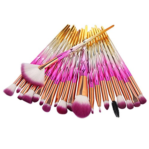 20 Pieces Makeup Brushes Set Kit, Staron Makeup Brush Set Foundation Cosmetics Face Eyebrow Eyeliner Blush Lip Cosmetic Powder Blending Makeup Brushes Tool (Pink)