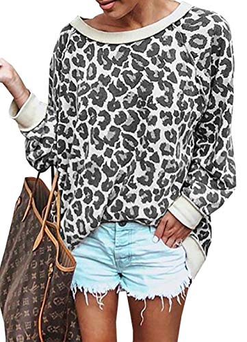 BTFBM Women's Fashion Color-Block Leopard Print Sweatshirt Crew Neck Long Sleeve Loose Soft Basic Shirt Pullover Tops (Grey, Small) from BTFBM