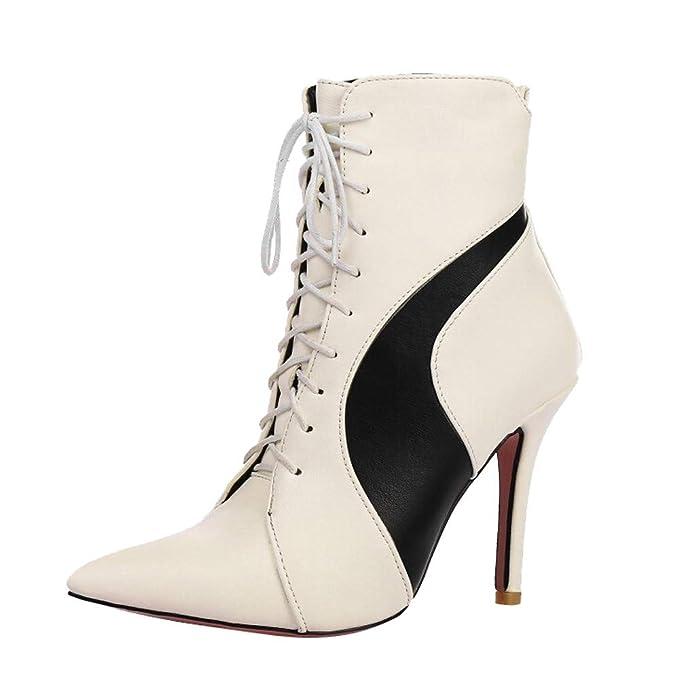❤ Botas Mujer tacón Alto Puntiagudo Empalme, Moda Invierno otoño Punta Puntiaguda de Las Mujeres Zapatos de Tacones Altos Delgados Spell Color Botas ...