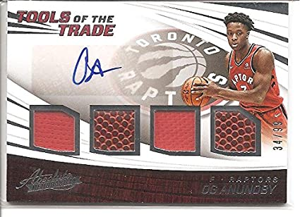 076341089 Og Anunoby Toronto Raptors 2017-18 Panini Absolute Tools of the Trade  Autograph   Quad