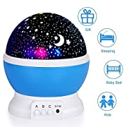 Night Lights for Kids, Elecstars Night Lighting Lamp, Star Light Rotating Projector, 4 LED Bulbs 8 Modes with 3.2FT USB Cord for Baby Children Kids Bedroom.(Blue)