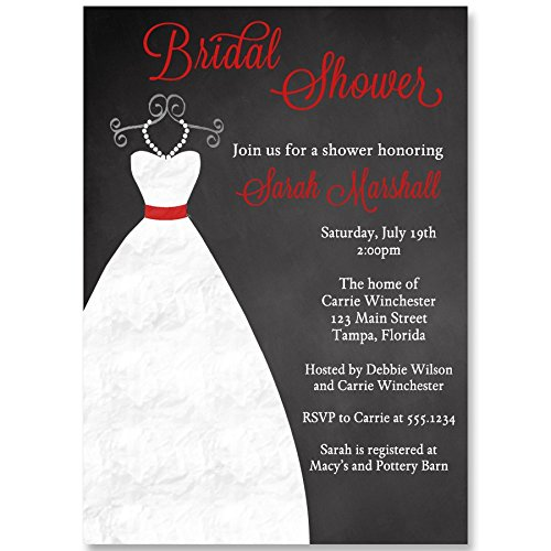 Chalkboard Bridal Shower Invitations, Red Black White Wedding Dress Gown Pearls Chalk-Board Future Mrs. Bride to Be Blackboard Printed Customized Invites (10 Pack) -