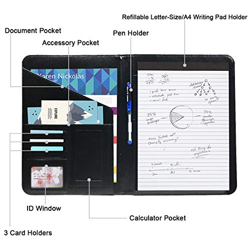 Hapree Business Padfolio Portfolio with Writing Pad, Professional Interview Resume Leather Document Organizer (Black)