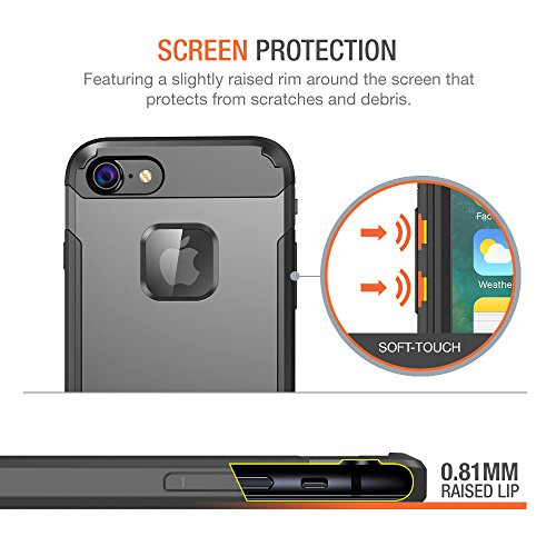 Trianium iPhone 7 Case [Duranium Series] Heavy Duty Ultra Protective Hard Cover Shock Absorption w/ Built-in Screen Protector+ Holster Belt Clip Kickstand for Apple iPhone 7 2016 -Gunmetal (TM000181) by Trianium (Image #3)