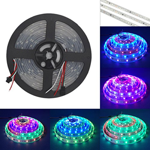 HKBAYI 5m ws2811 50 ICs 5050 digital RGB Strip 150LED IP67 tube waterproof dream magic color 12V Led Strip (Landscape 2 Door Cabinet)